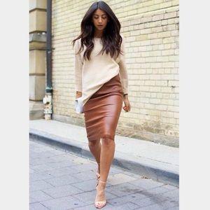 Lord & Taylor Leather High waistline Pencil Skirt